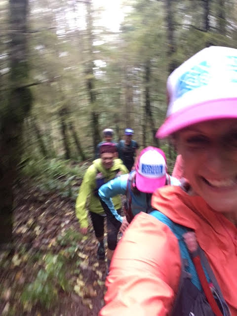 Krissy on a wet and windy run with her Trail Sisters in the PNW.