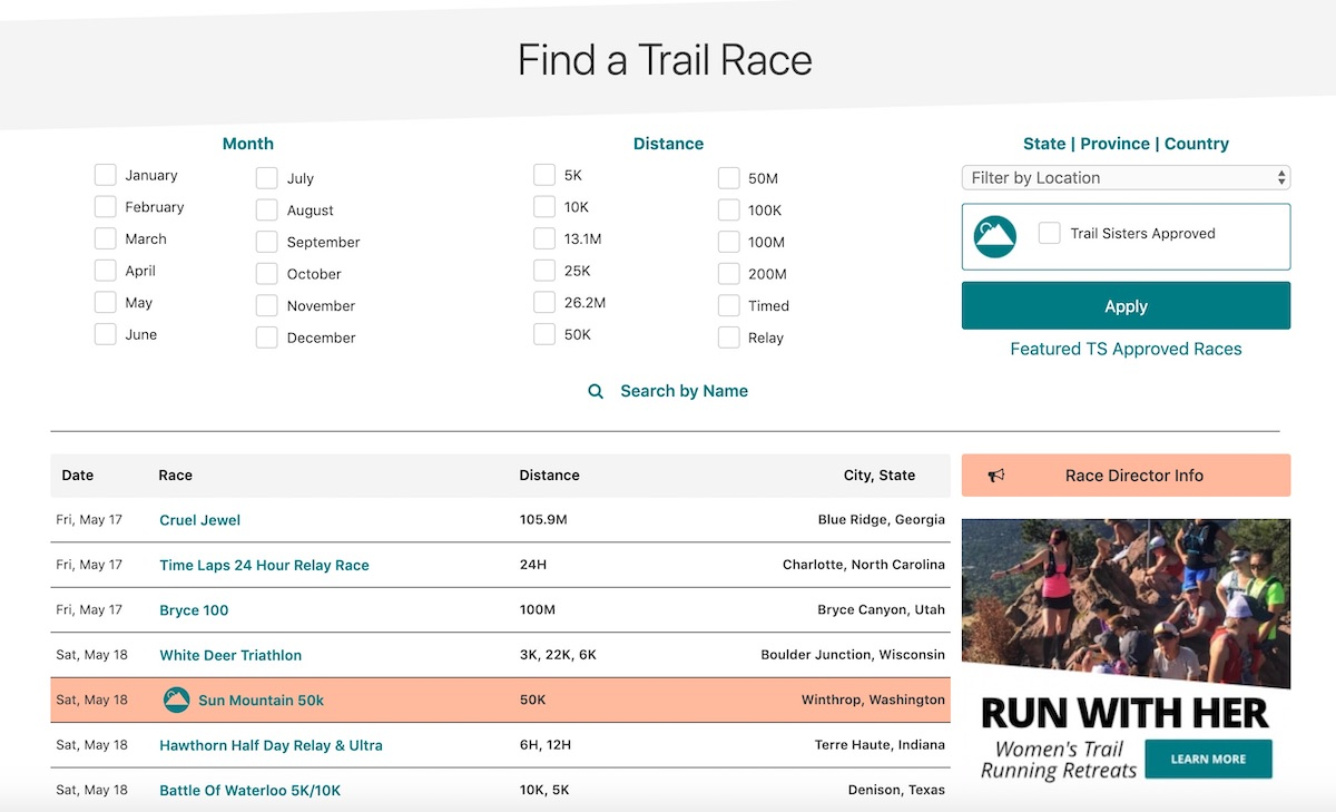 Introducing the Trail Sisters Race Calendar